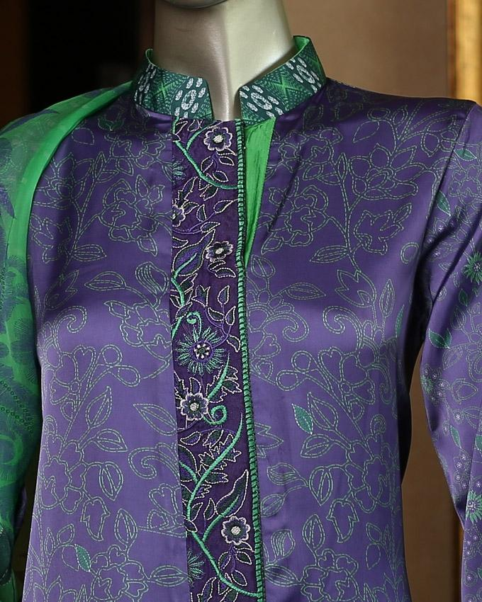 Bluish Lavender Printed Embroidered Kantha Silk 3-Piece Unstitched Suit For Women - Sujni 1625B