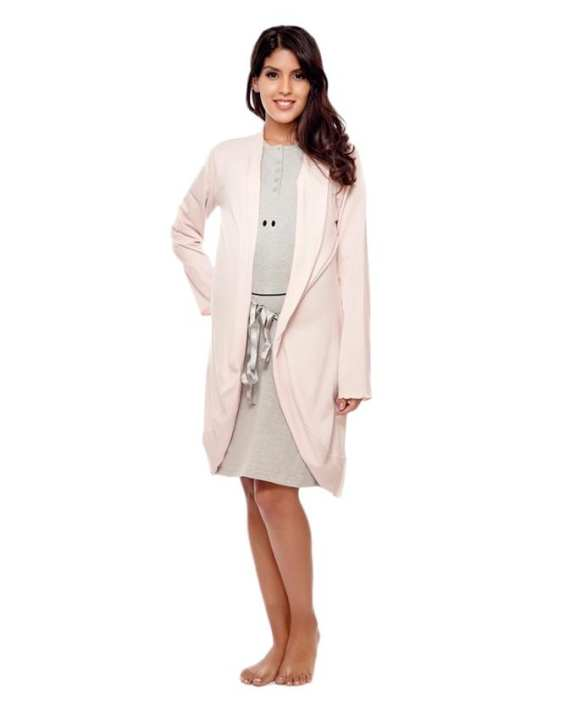 Light Pink Mix Cotton Maternity Robe for Women