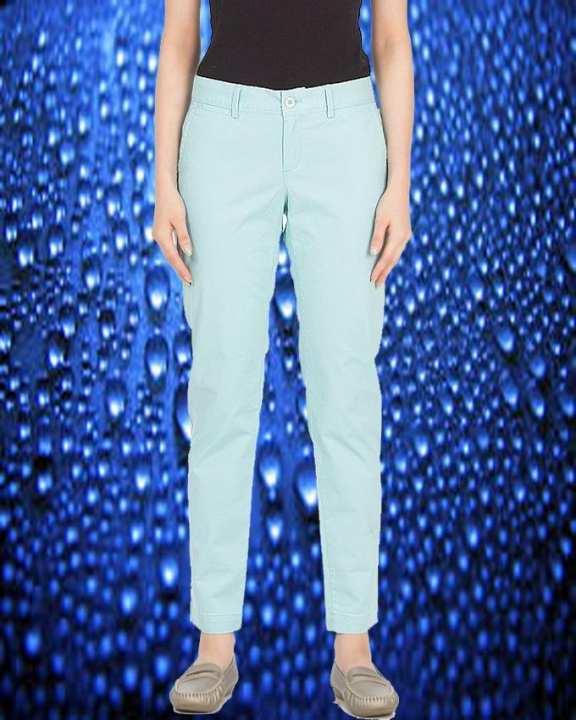 Light Blue Cotton Twill Pant For Women