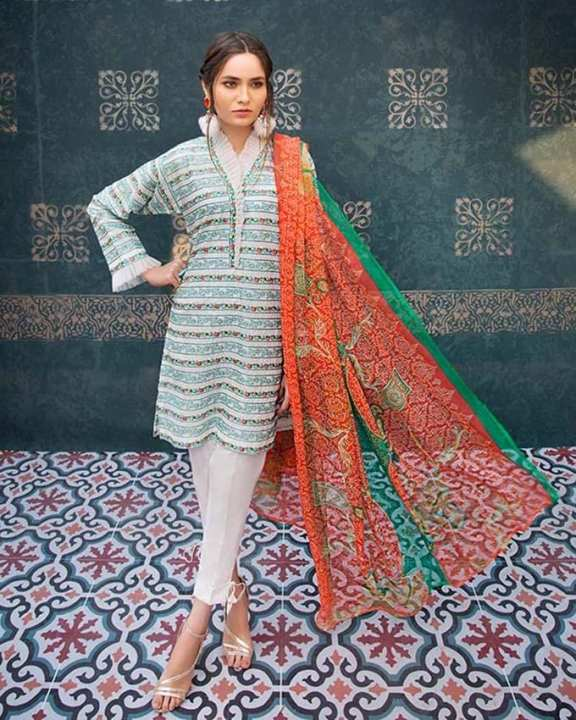 Gul Ahmed - Turquoise  Chiffon with Embroidered Front Printed Back & Sleeves 3PC-Unstitched -  C-505-158441