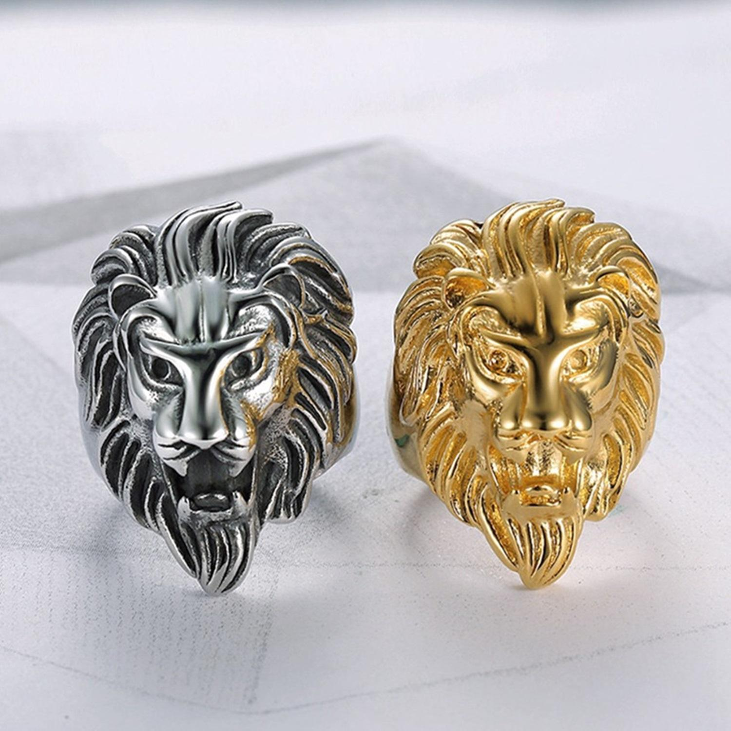 43a42eee5f9 Gold silver color Lion  s head Men Hip hop rings fashion punk Animal shape  Ring