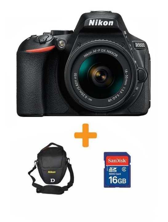 D5600 - DSLR Camera 24.2 MP with AF-P 18-55 16GB Card-Bag BLK