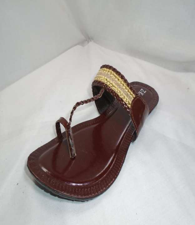 Red Color Leather Cola Puri Slipper For Women-169-50716