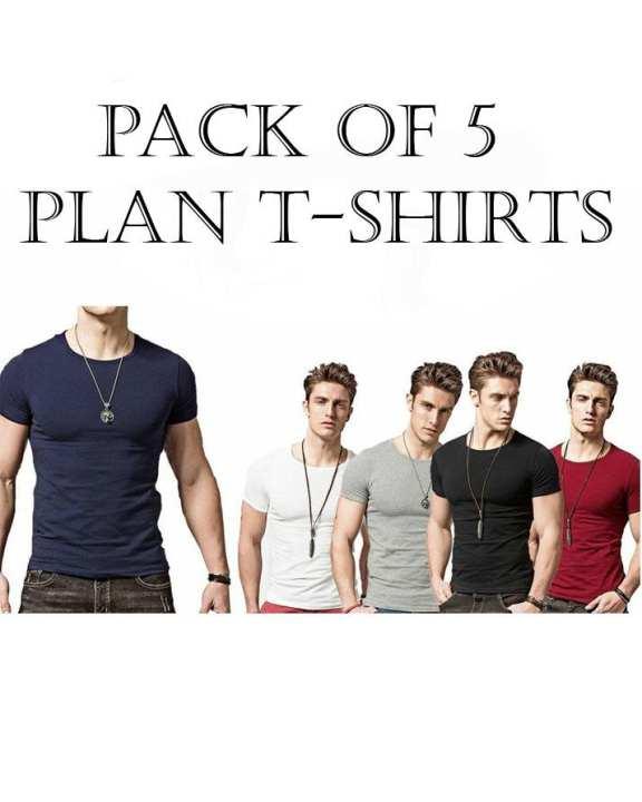 Pack Of 5 - Maroon, Black, Navy Blue, White & Hazel Grey Cotton Round Neck Tshirt For Men