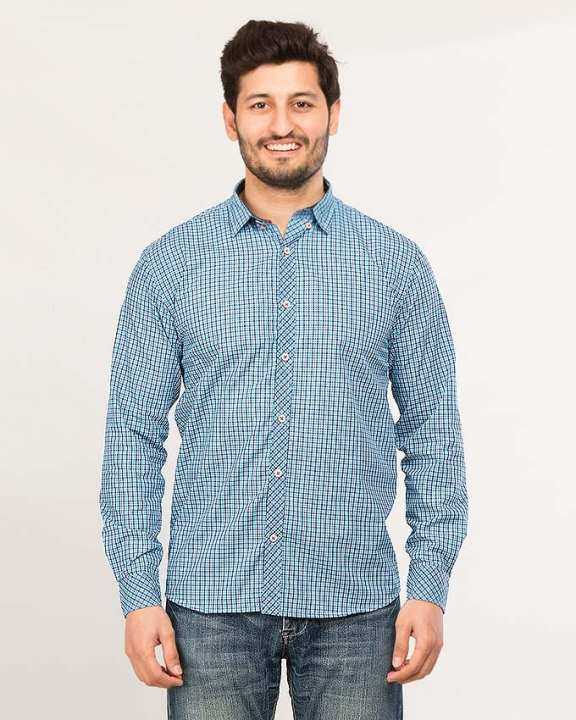 Navy Blue Men's Long Sleeve Printed shirt