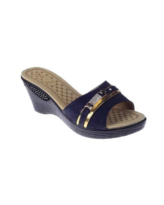 Navy Blue Synthetic Leather Wedge for Women - QQ180