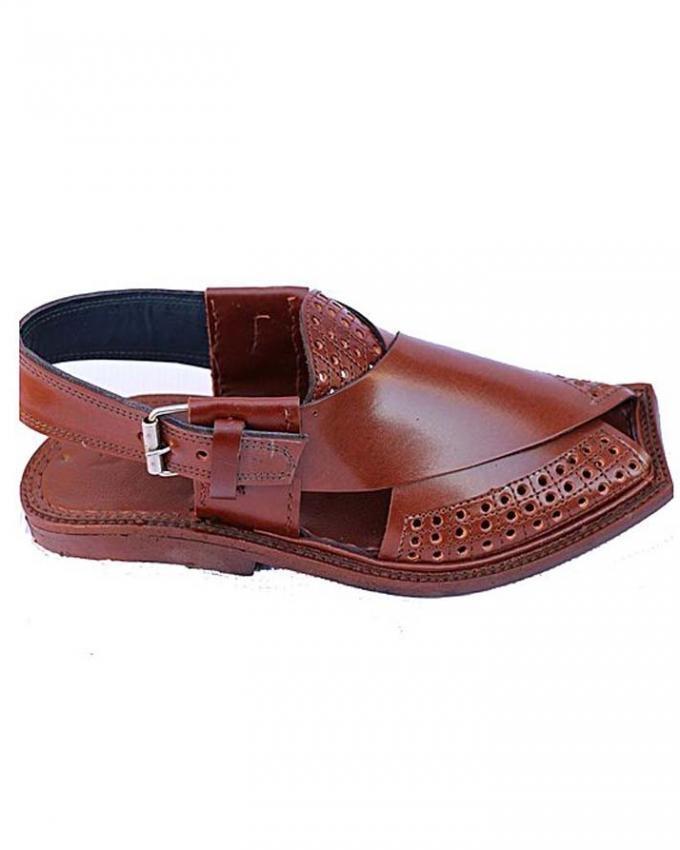 46c175a19882fa Original Leather - Handmade - Brown Color - Half A.C - Peshawari Chappal  For Men