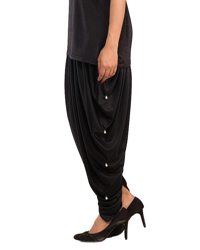 Black Cotton Lycra Tulip Shalwar for Women