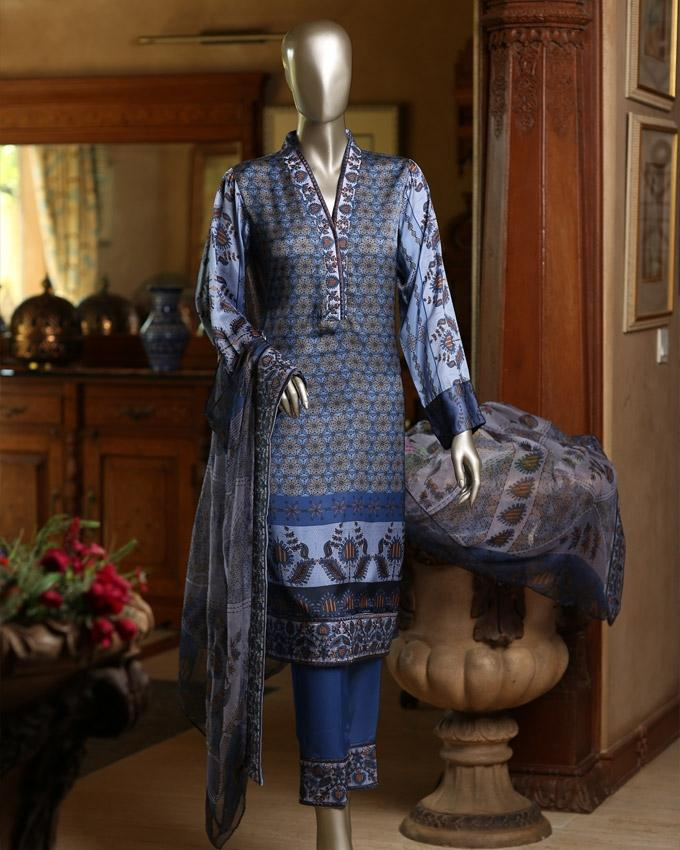 Thistle Down Digital Printed Embroidered Kantha Silk 3-Piece Unstitched Suit For Women - Anarsi 1621B