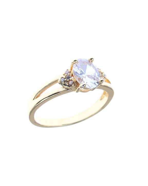 Gold plated daimond cut zircon ring with gift box