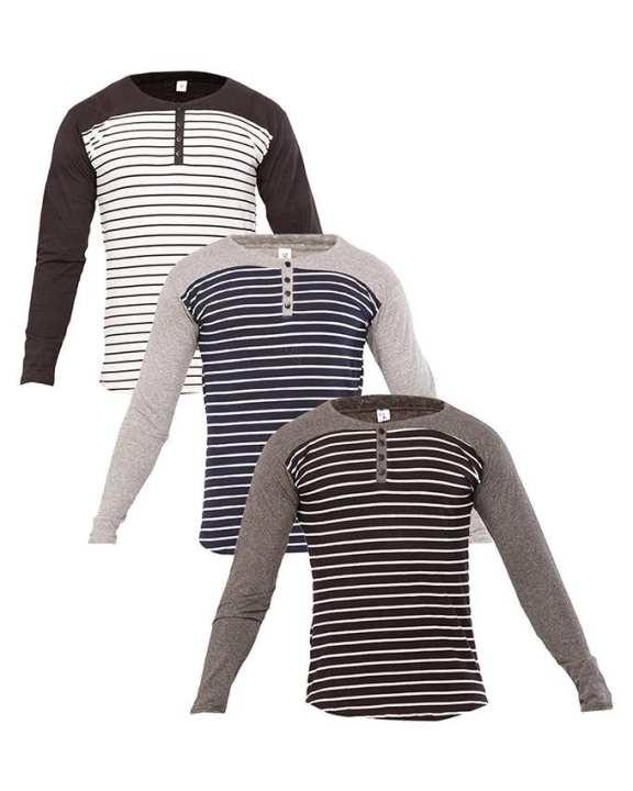 Navy, black, white-Pack of 3 round neck long sleeve striper t-shirts