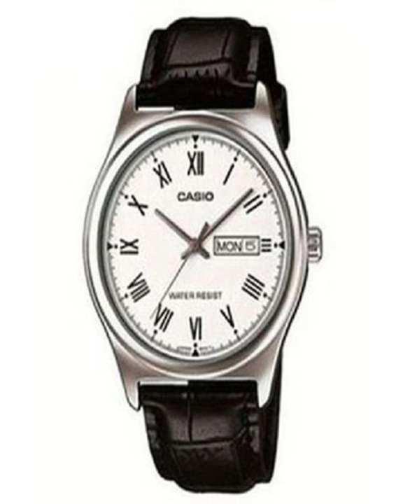 Quartz White Dial Black Leather Band Watch for Men - MTP-V006L-7BUDF