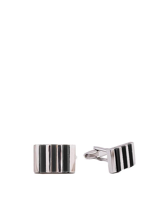 Black Stone Striped Silver Cufflinks for Men - GEP-42