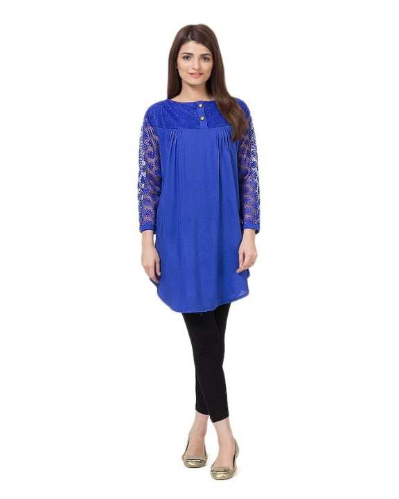 Royal Blue Cotton and Net Top For Women