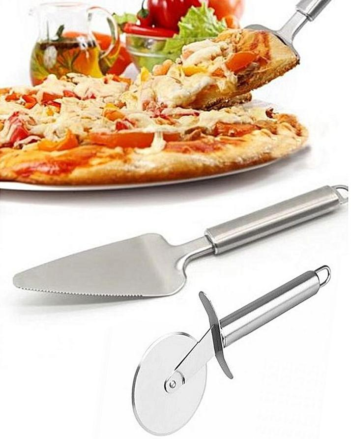 Pack Of 2 - Stainless Steel Professional Pie Pizza Server & Cutter Wheel - Silver