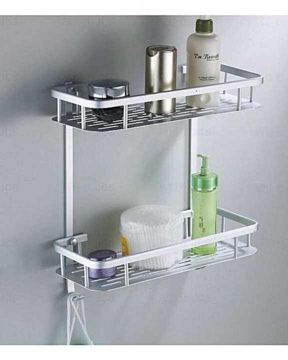 2 Layer Aluminium Bathroom Corner Shelf - Silver