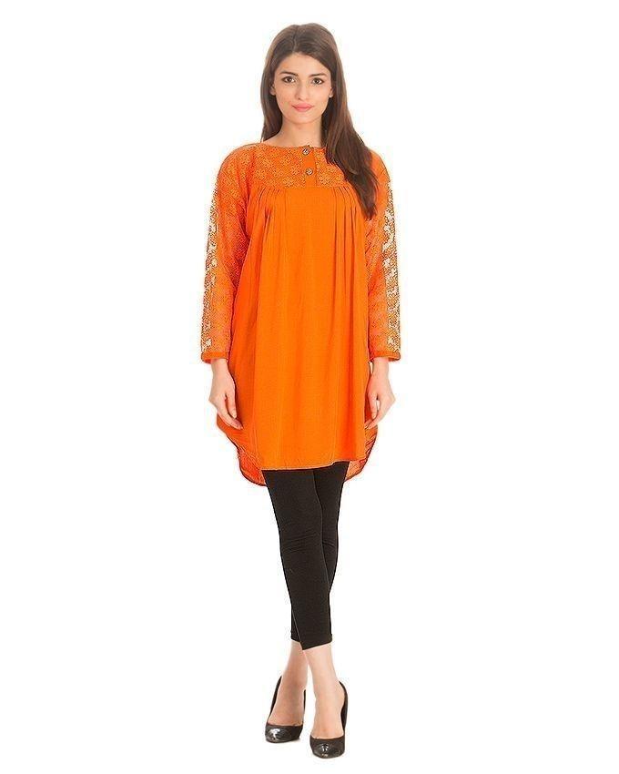 Orange Cotton & Net Sleeves Tunic For Women
