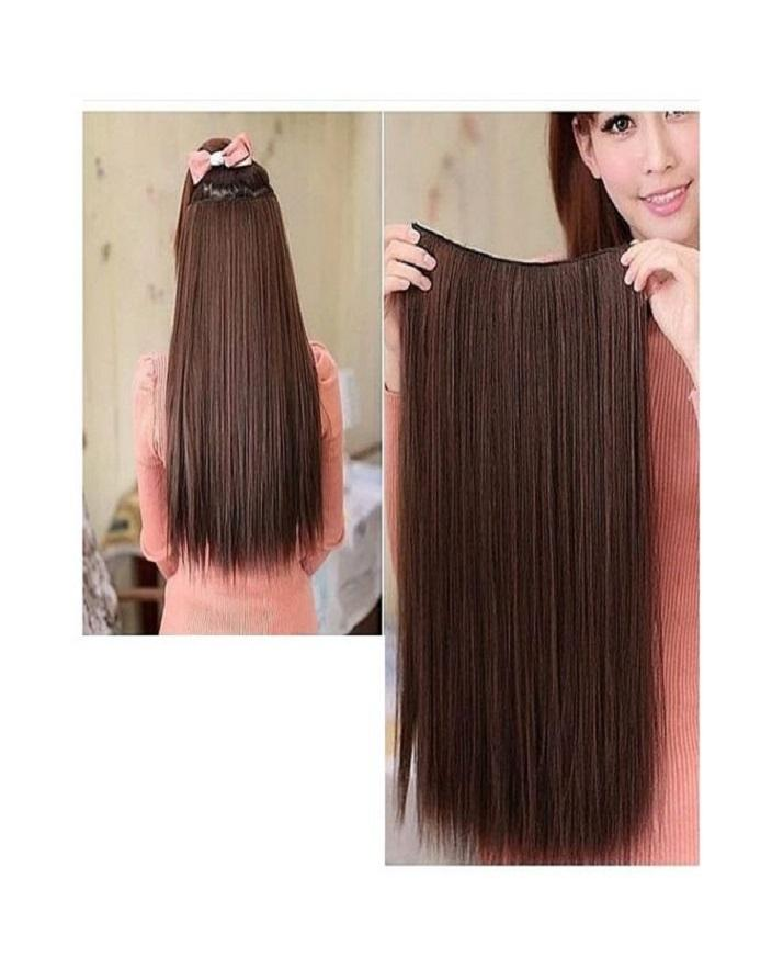 24 Inch Long Clip-in Synthetic Straight Hair Extension for Her - Dark Brown