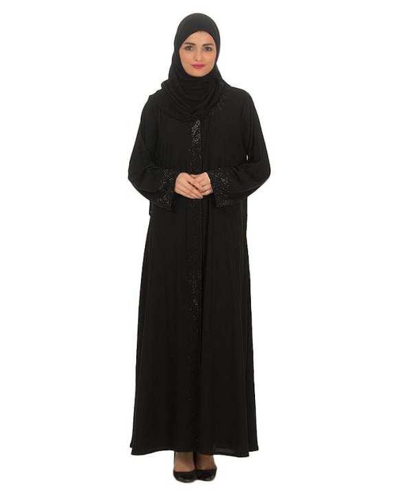 Black Stone Work Polyester Abaya For Women - 0121-C-879