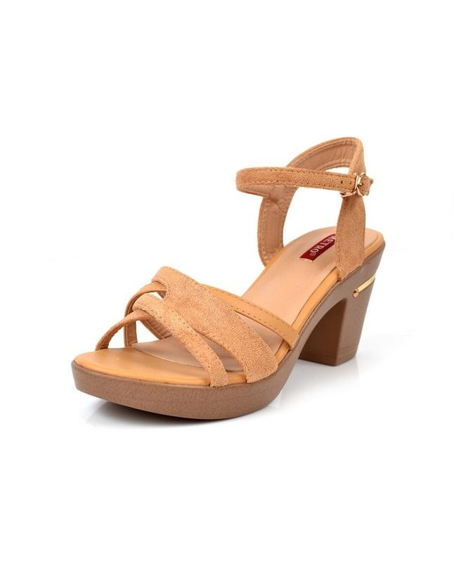 Women's Cream Medium Heels Sandal