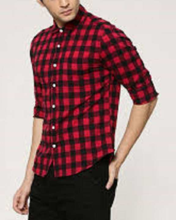 Red & Black Check Casual / Fancy Cotton Shirt For Men'S