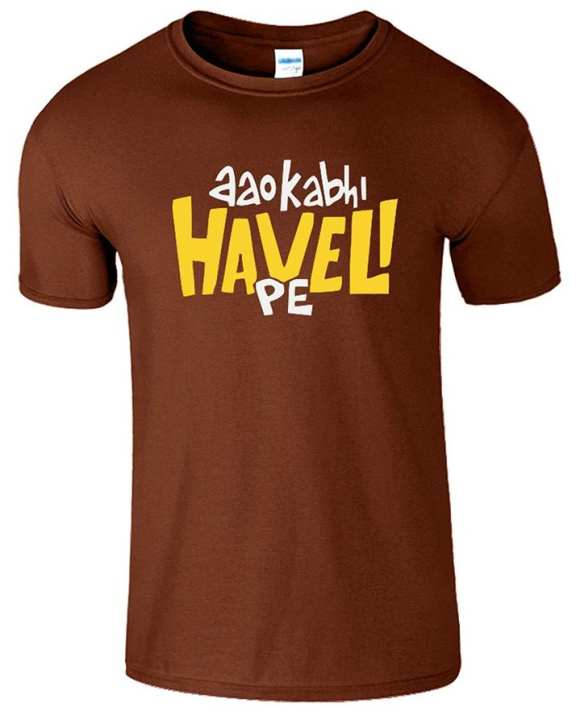 Brown Cotton Aao Kabhi Haveli Pe T Shirt For Unisex