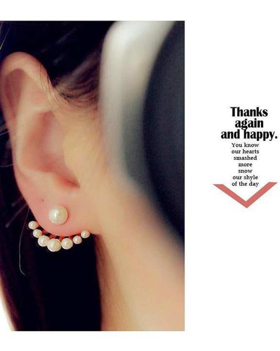 Golden-Alloy Metal Front and back pearl Style Stud Earrings For women