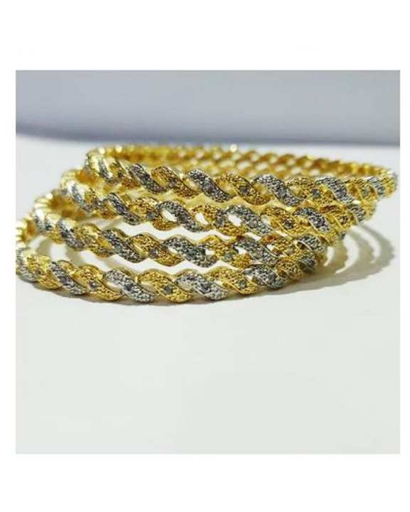 SOZ Set of 4 - Golden Metal Bangles Set For Women - Size 2:30