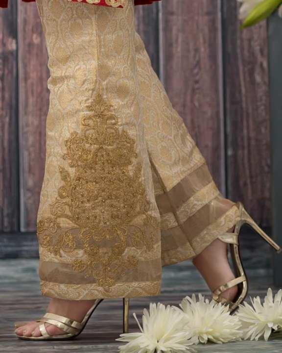 Vintage Aura golden Embroidered Trouser for women