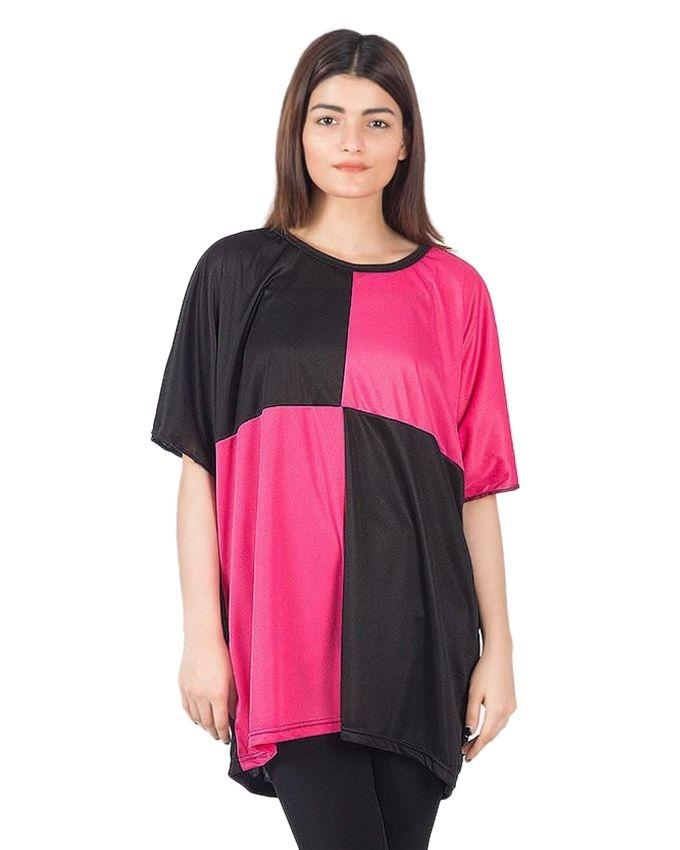 Black & Pink Silk Checkered Top For Women