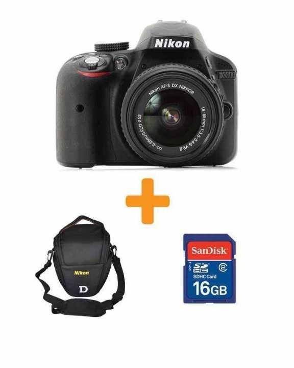 D3300 - 24.2 MP - 3.0x - DSLR Camera + 18-55mm Lens + 16GB Card + Bag - Black