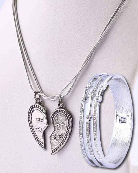 Best Friend Pendant and Bracelet - Silver