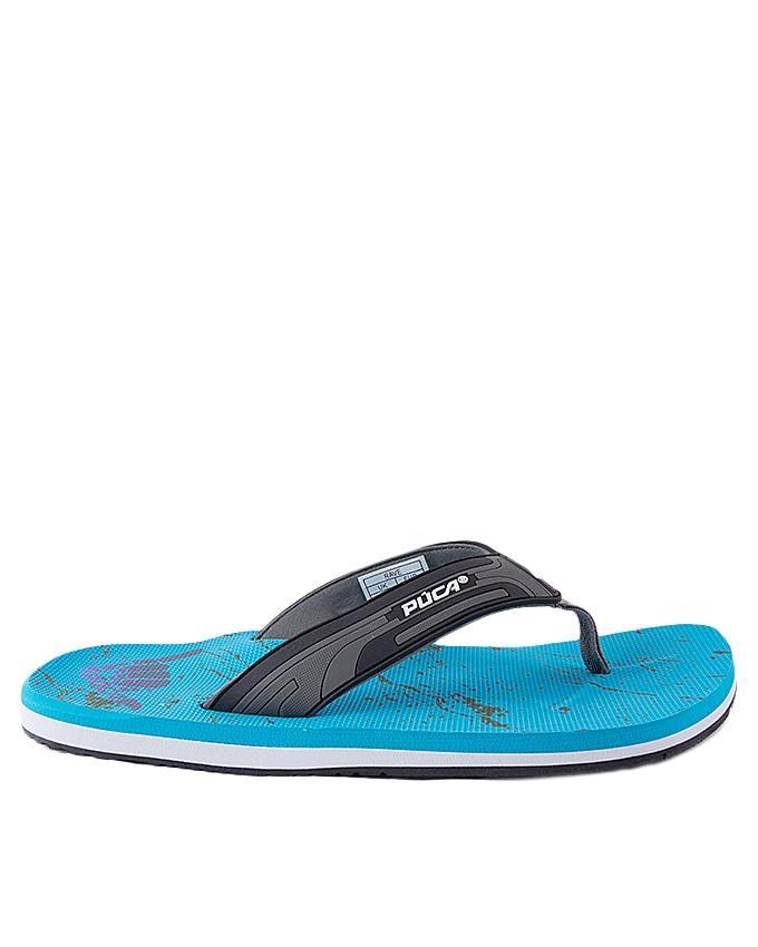 Sea Blue Synthetic Flip Flops for Men