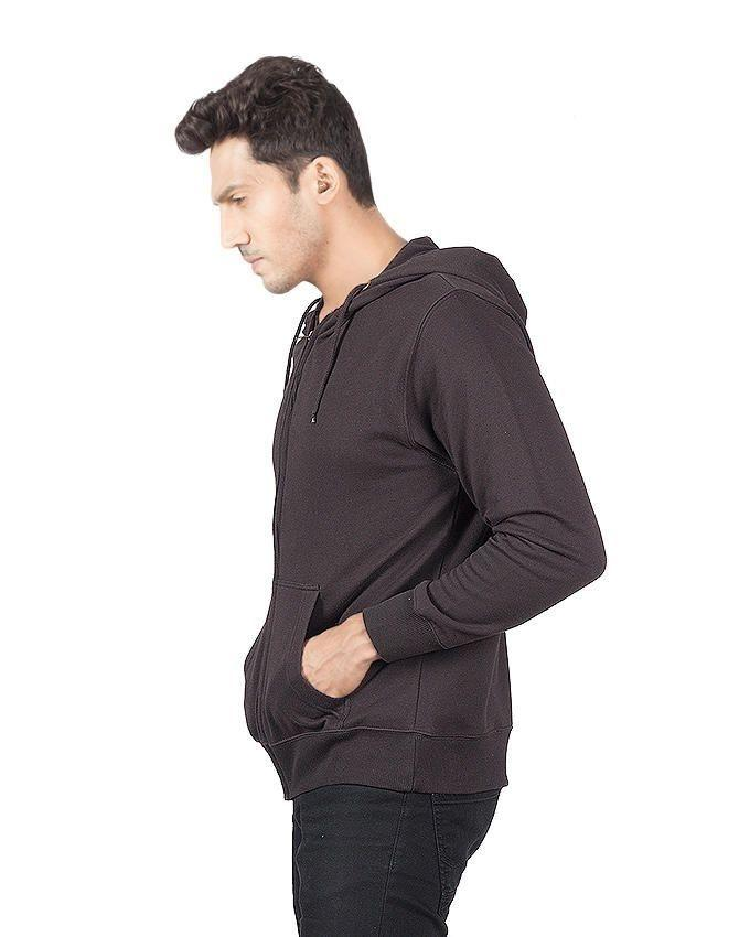 Black Cotton Zipper Hoodie For Men