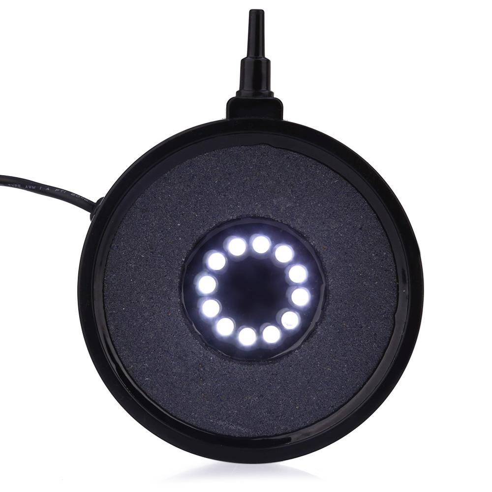 1W 12 LEDs Air Stone Disk Bubble Light Underwater Flame Lamp - White