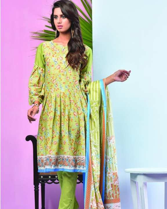 Sea Green Printed 3Pcs- Unstitched  Lawn For Women