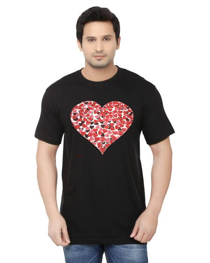 Pack of 2 - Black & White Cotton Printed T-Shirt for Unisex