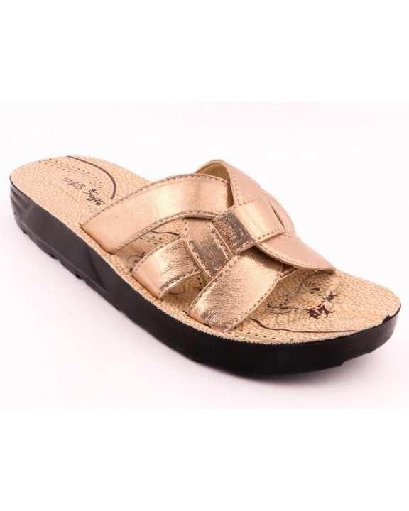 Golden Synthetic Casual Slipper for Women