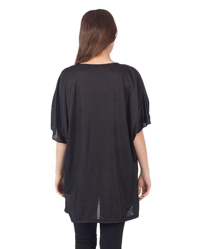 Black & Grey Silk Checkered Top For Women