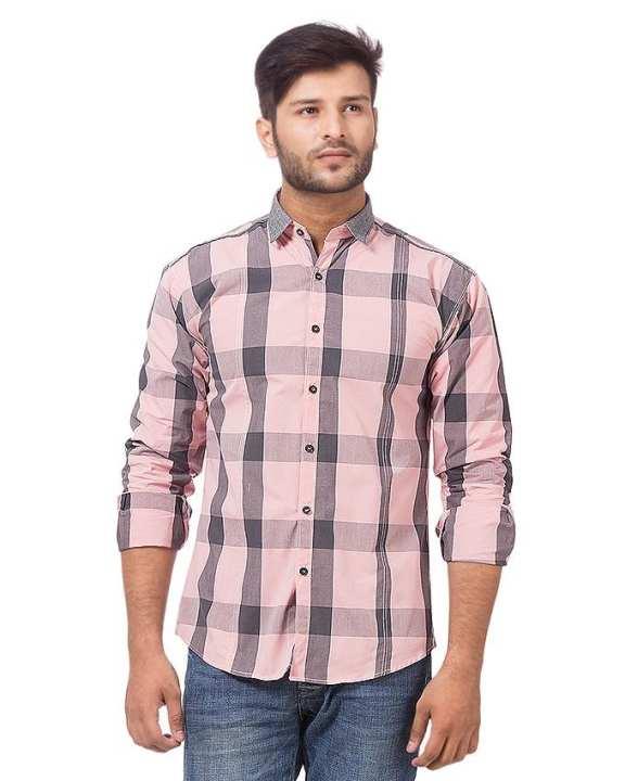 Pink & Grey Cotton Shirt For Men - BU-198