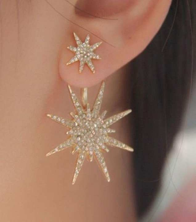 Golden Alloy Gold Plated Rhinestone Double Star Earrings for - Jewellery