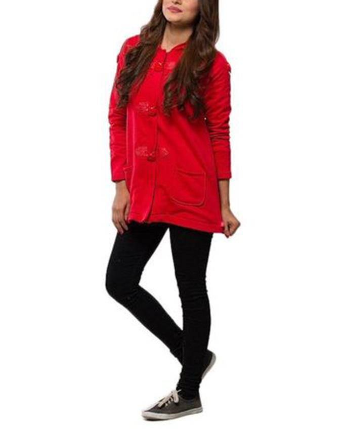Red Cotton Polyester Hoodie for Women
