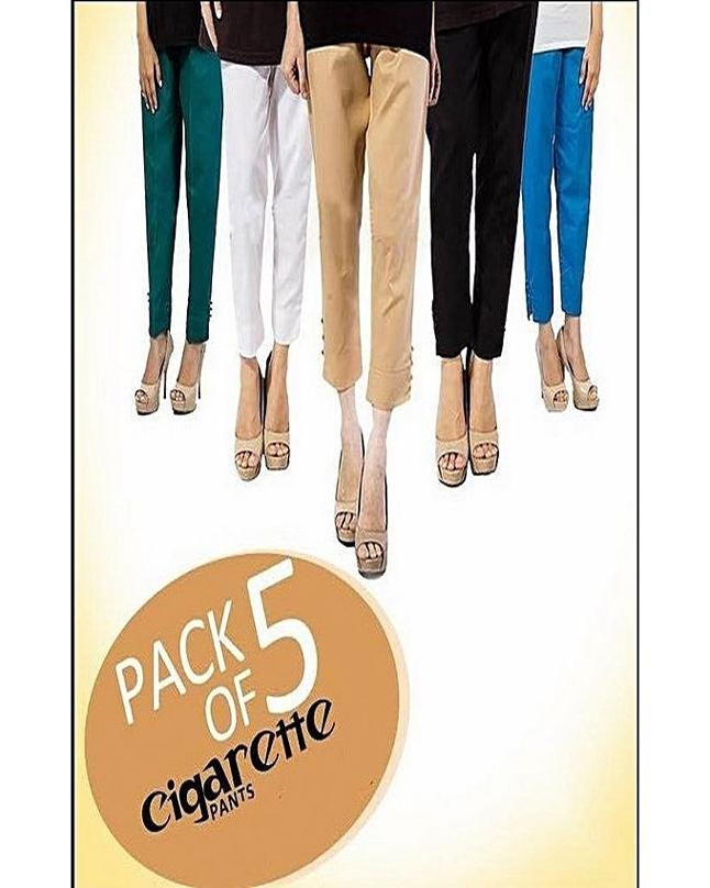Pack Of 5 - Multicolored Cotton Pant For Women