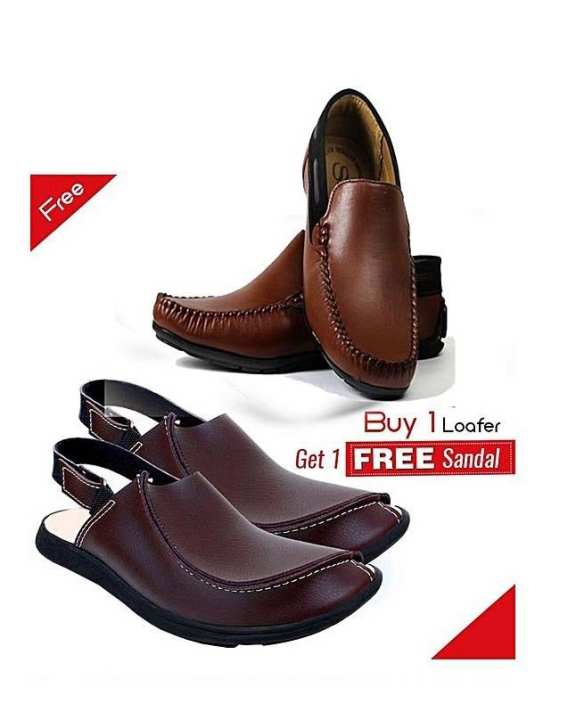 Buy One Leather Loafers Get One Sandal Free