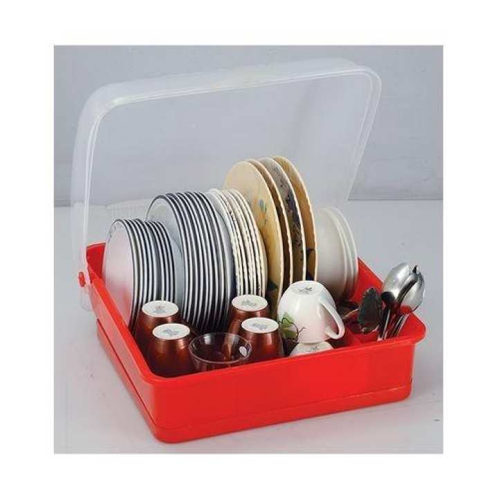 Kitchen Plates Rack - Plastic - Red