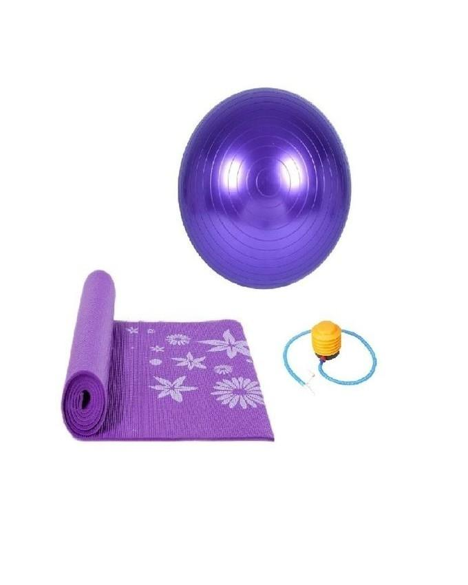 e9b35d65ae31c3 Purple Rubber Pack Of 2 - Yoga Mat & Anti Burst Gym Ball With Pump -