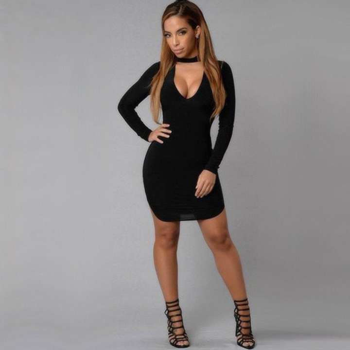 Sexy Dress Club Wear Party Deep v Neck Women Long Sleeve Bodycon