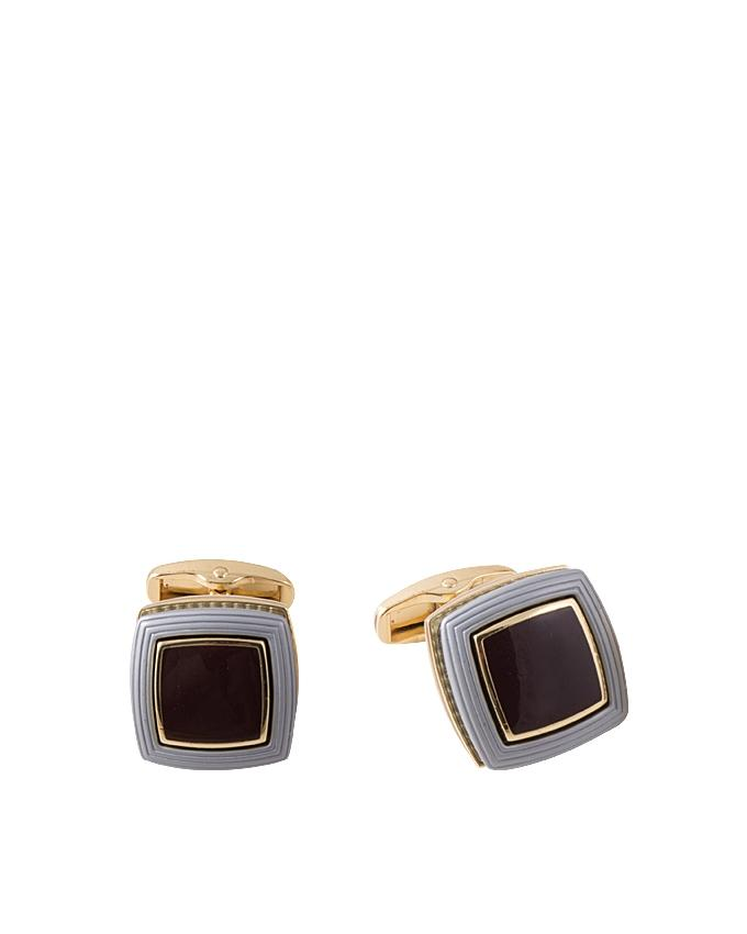 Jet Black Gold Plated Cufflink with Grey Outline