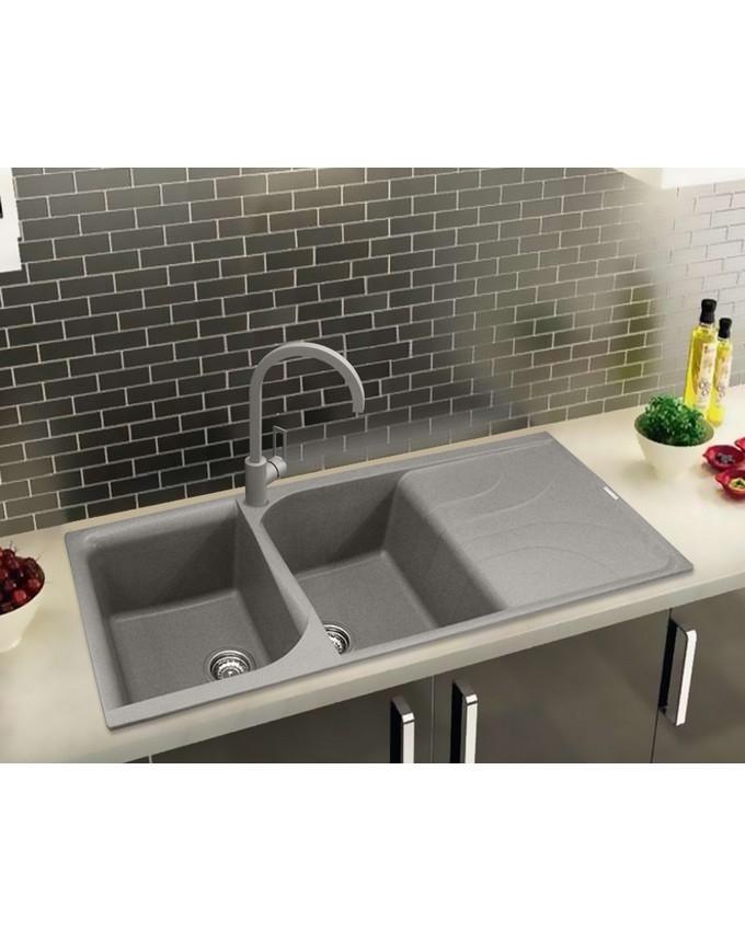 Ego 500 Titanium 73 (L) 116x50 2V Granite Kitchen Sink (Made In ...