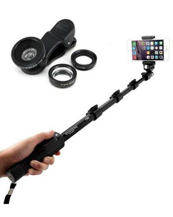 YT-1288 Extendable Selfie Stick with 3in1 Mobile Camera Lens - Black